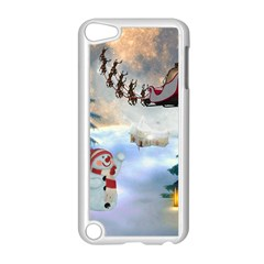 Christmas, Snowman With Santa Claus And Reindeer Apple Ipod Touch 5 Case (white) by FantasyWorld7