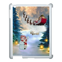Christmas, Snowman With Santa Claus And Reindeer Apple Ipad 3/4 Case (white) by FantasyWorld7