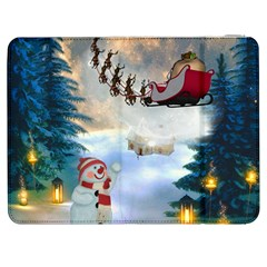 Christmas, Snowman With Santa Claus And Reindeer Samsung Galaxy Tab 7  P1000 Flip Case by FantasyWorld7