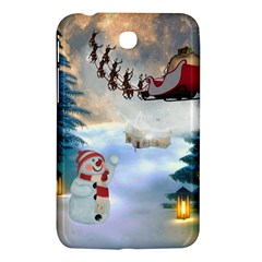 Christmas, Snowman With Santa Claus And Reindeer Samsung Galaxy Tab 3 (7 ) P3200 Hardshell Case  by FantasyWorld7