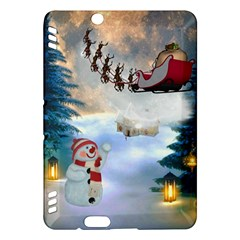 Christmas, Snowman With Santa Claus And Reindeer Kindle Fire Hdx Hardshell Case by FantasyWorld7
