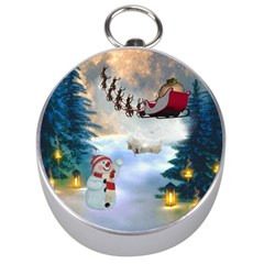 Christmas, Snowman With Santa Claus And Reindeer Silver Compasses by FantasyWorld7