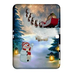 Christmas, Snowman With Santa Claus And Reindeer Samsung Galaxy Tab 4 (10 1 ) Hardshell Case  by FantasyWorld7