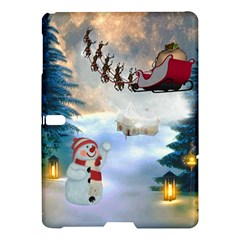 Christmas, Snowman With Santa Claus And Reindeer Samsung Galaxy Tab S (10 5 ) Hardshell Case  by FantasyWorld7