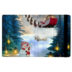 Christmas, Snowman With Santa Claus And Reindeer Apple Ipad Pro 12 9   Flip Case by FantasyWorld7