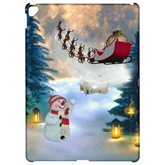 Christmas, Snowman With Santa Claus And Reindeer Apple Ipad Pro 12 9   Hardshell Case by FantasyWorld7
