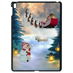 Christmas, Snowman With Santa Claus And Reindeer Apple Ipad Pro 9 7   Black Seamless Case by FantasyWorld7