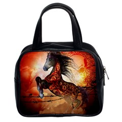 Awesome Creepy Running Horse With Skulls Classic Handbags (2 Sides) by FantasyWorld7