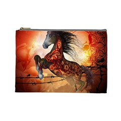 Awesome Creepy Running Horse With Skulls Cosmetic Bag (large)  by FantasyWorld7