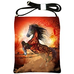Awesome Creepy Running Horse With Skulls Shoulder Sling Bags by FantasyWorld7