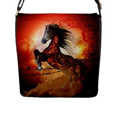 Awesome Creepy Running Horse With Skulls Flap Messenger Bag (l)  by FantasyWorld7