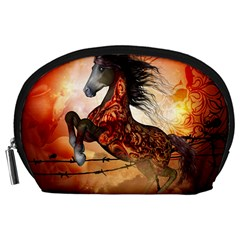 Awesome Creepy Running Horse With Skulls Accessory Pouches (large)  by FantasyWorld7