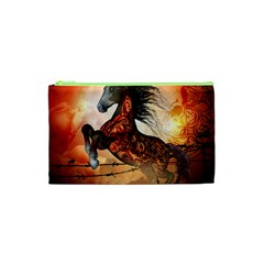 Awesome Creepy Running Horse With Skulls Cosmetic Bag (xs) by FantasyWorld7