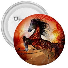 Awesome Creepy Running Horse With Skulls 3  Buttons by FantasyWorld7