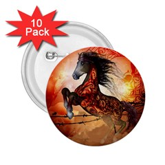 Awesome Creepy Running Horse With Skulls 2 25  Buttons (10 Pack)  by FantasyWorld7