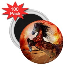 Awesome Creepy Running Horse With Skulls 2 25  Magnets (100 Pack)  by FantasyWorld7