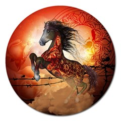 Awesome Creepy Running Horse With Skulls Magnet 5  (round) by FantasyWorld7