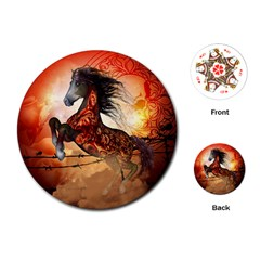Awesome Creepy Running Horse With Skulls Playing Cards (round)  by FantasyWorld7