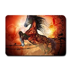 Awesome Creepy Running Horse With Skulls Small Doormat  by FantasyWorld7