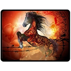 Awesome Creepy Running Horse With Skulls Fleece Blanket (large)  by FantasyWorld7