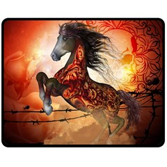 Awesome Creepy Running Horse With Skulls Fleece Blanket (medium)  by FantasyWorld7