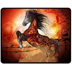 Awesome Creepy Running Horse With Skulls Double Sided Fleece Blanket (medium)  by FantasyWorld7