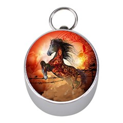 Awesome Creepy Running Horse With Skulls Mini Silver Compasses by FantasyWorld7