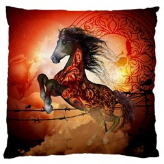 Awesome Creepy Running Horse With Skulls Large Flano Cushion Case (one Side) by FantasyWorld7