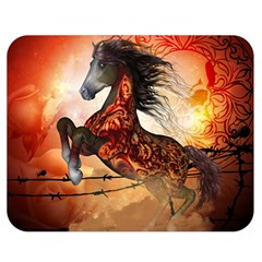Awesome Creepy Running Horse With Skulls Double Sided Flano Blanket (medium)  by FantasyWorld7