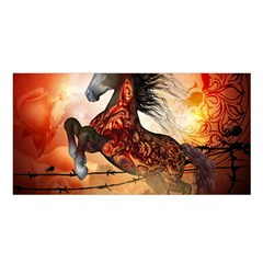 Awesome Creepy Running Horse With Skulls Satin Shawl by FantasyWorld7