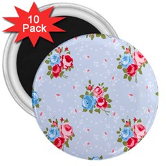Cute Shabby Chic Floral Pattern 3  Magnets (10 Pack)  by 8fugoso
