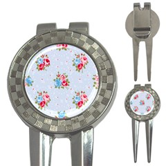 Cute Shabby Chic Floral Pattern 3 In 1 Golf Divots by 8fugoso