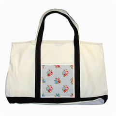 Cute Shabby Chic Floral Pattern Two Tone Tote Bag by 8fugoso
