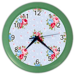 Cute Shabby Chic Floral Pattern Color Wall Clocks by 8fugoso
