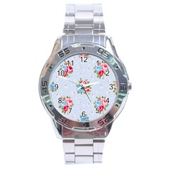 Cute Shabby Chic Floral Pattern Stainless Steel Analogue Watch by Love888