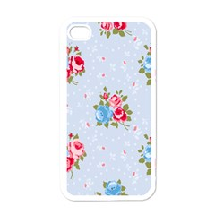 Cute Shabby Chic Floral Pattern Apple Iphone 4 Case (white) by 8fugoso