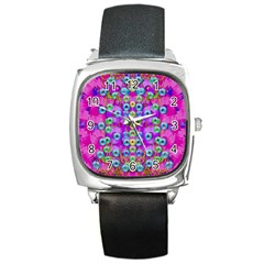 Festive Metal And Gold In Pop Art Square Metal Watch