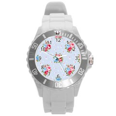 Cute Shabby Chic Floral Pattern Round Plastic Sport Watch (l)