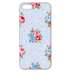 Cute Shabby Chic Floral Pattern Apple Seamless Iphone 5 Case (clear) by 8fugoso