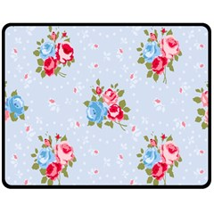 Cute Shabby Chic Floral Pattern Double Sided Fleece Blanket (medium)  by 8fugoso