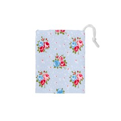 Cute Shabby Chic Floral Pattern Drawstring Pouches (xs)  by 8fugoso