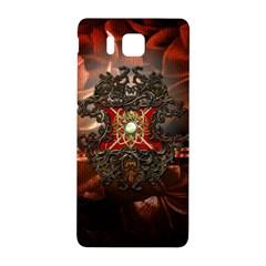 Wonderful Floral Design With Diamond Samsung Galaxy Alpha Hardshell Back Case by FantasyWorld7