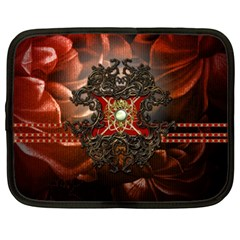 Wonderful Floral Design With Diamond Netbook Case (large) by FantasyWorld7