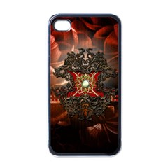Wonderful Floral Design With Diamond Apple Iphone 4 Case (black) by FantasyWorld7