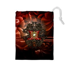 Wonderful Floral Design With Diamond Drawstring Pouches (large)  by FantasyWorld7