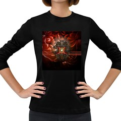 Wonderful Floral Design With Diamond Women s Long Sleeve Dark T Shirts by FantasyWorld7