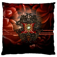 Wonderful Floral Design With Diamond Large Cushion Case (two Sides) by FantasyWorld7