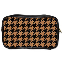 Houndstooth1 Black Marble & Light Maple Wood Toiletries Bags by trendistuff