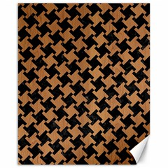 Houndstooth2 Black Marble & Light Maple Wood Canvas 16  X 20   by trendistuff