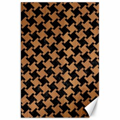 Houndstooth2 Black Marble & Light Maple Wood Canvas 20  X 30   by trendistuff